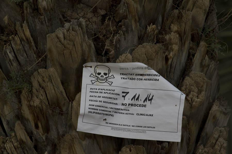 Aviso de fumigación con glisofato en un huerto de la ciudad de Elche (S. Arroyo)