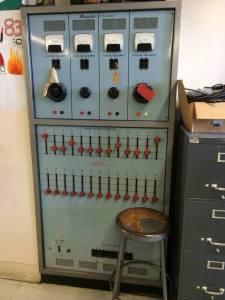 Antiquated equipment in science lab.