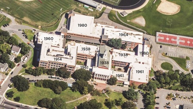 AHS aerial photo with construction dates