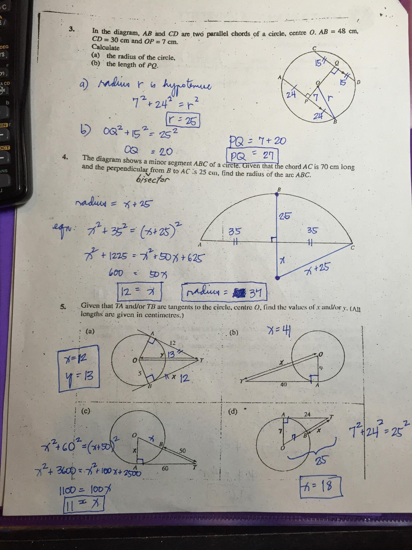 Grade 11 Circles Worksheets Answer Keys Ateneo High