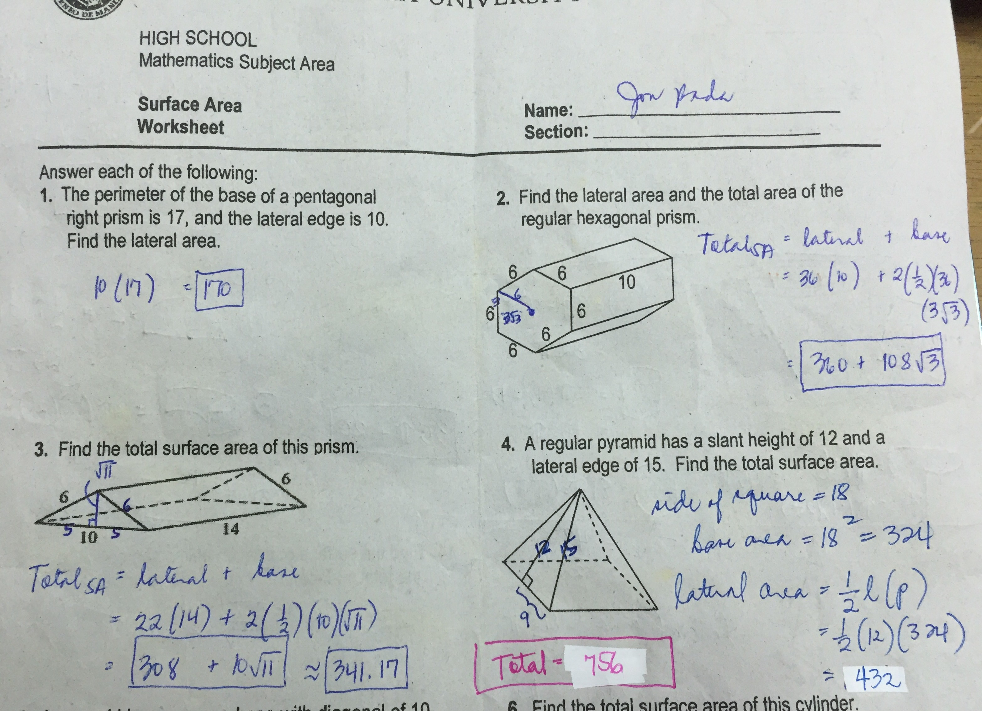 Grade 11 Surface Area Worksheet Answer Key Ateneo High