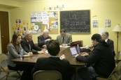 Director Harold Cronk (right) rehearses the attorney scene with the cast
