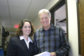 I'm dressed as an extra at the Salvation Army Corps with Bruce Boxleitner, star of Silver Bells