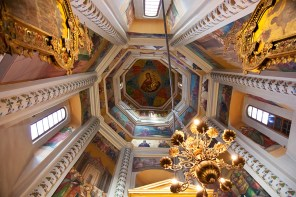 MOSCOW, RUSSIA - SEPTEMBER 26, 2013: Interior of St Basils Cathedral on Red Square on September 26, 2013 in Moscow, Russia. Cathedral was built in years 1555-1561 on orders of Ivan Terrible to commemorate the capture of Kazan.