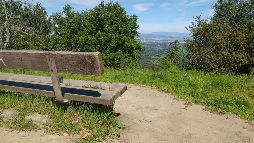 There's a friendly bench at the summit.