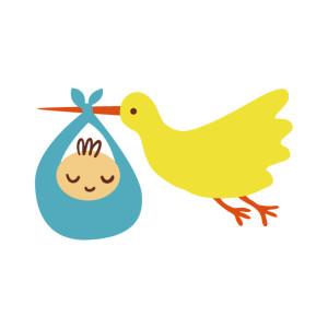 赤ちゃんとコウノトリイラスト
