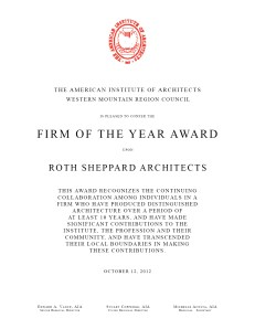 Firm of the Year Award - Roth Sheppard Architects