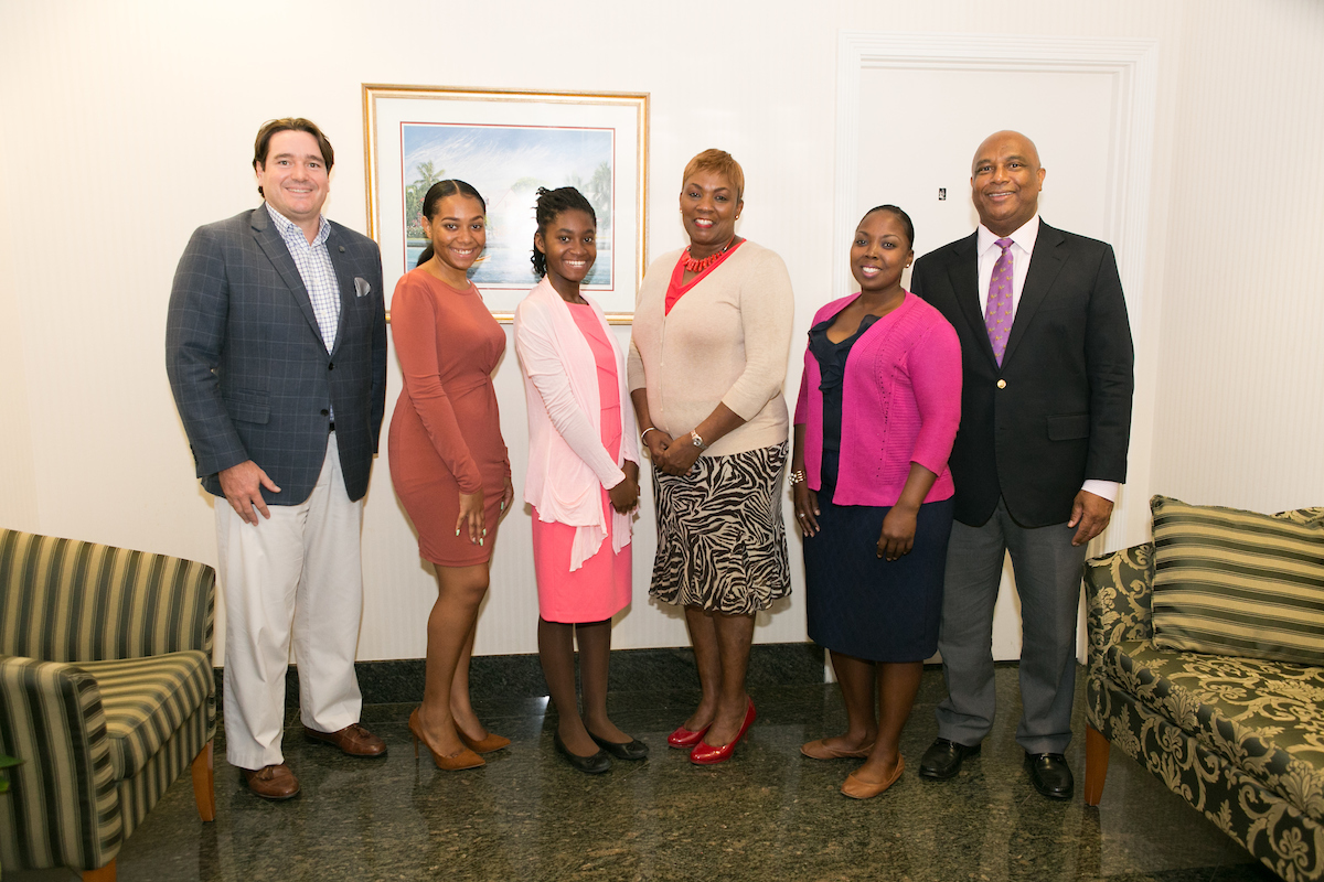 From L-R: Ivan Hooper, AIBT Co-Chairman; Noelicia E. Turnquest, Spanish Immersion Student; Sherelle Fernander, Spanish Immersion Student; Antoinette Russell, Credit Suisse Trust (and Past Chair of AIBT); Indira Smith, Summer Internship Student (Winterbotham Trust); Bruno Roberts, AIBT Co-Chairman