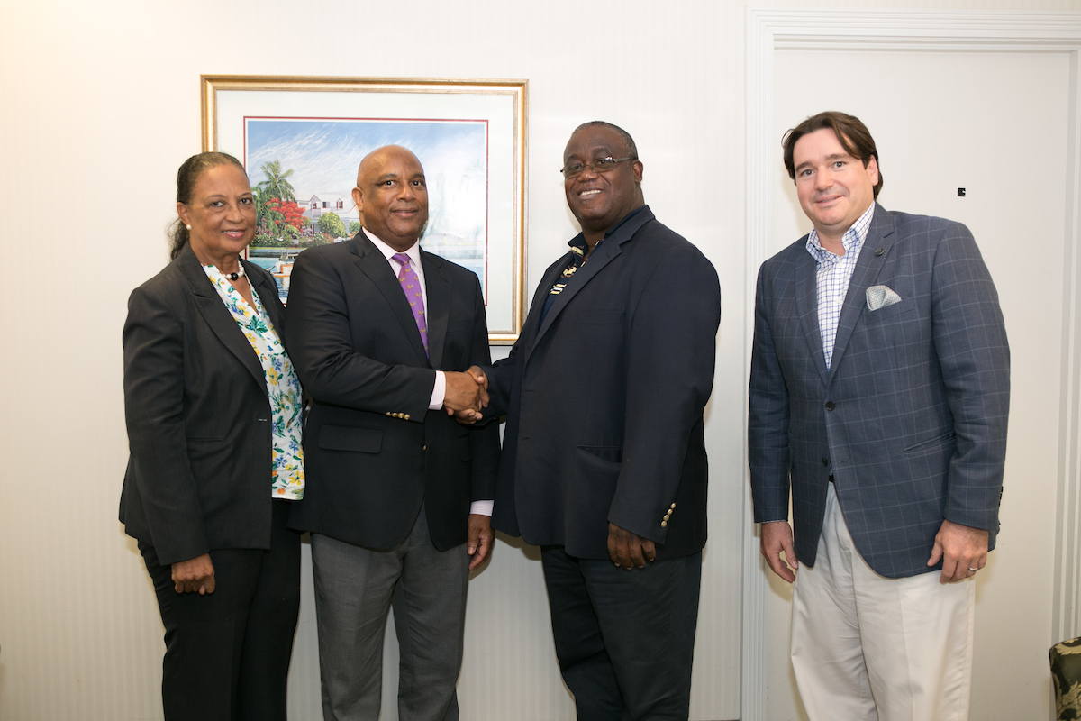 From L-R: Dale McHardy, University of The Bahamas; Bruno Roberts, AIBT Co-Chairman; Daniel Thompson of the University of The Bahamas; Ivan Hooper, AIBT Co-Chairman