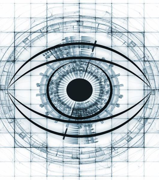 eye outlines, fractal and abstract design elements arrangement suitable as a backdrop in projects on modern technologies, mechanical progress, artificial intelligence, virtual reality and digital imaging
