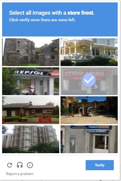 A screengrab of a image recaptcha, which Google uses to protect websites from spam - and train their own AI