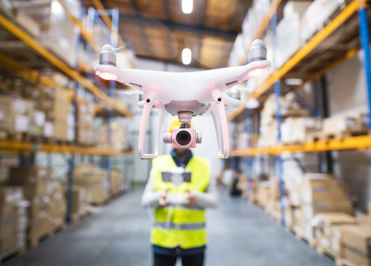 drone in warehouse
