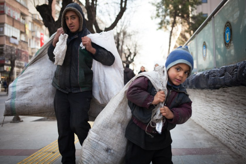 Syrian Refugee Children At work Collecting Trash Emily Troutman