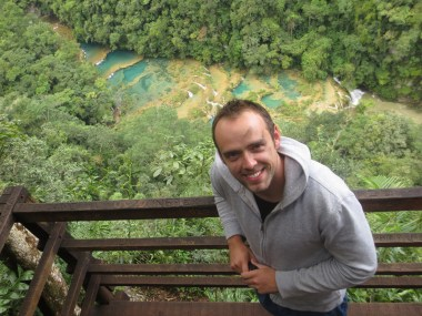 Semuc Champey - Guatemala. Incredibly beautiful country. We had to traverse through underwater caves, and scale steep terrain to get to this postcard point.