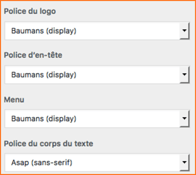 Choix polices Rosace