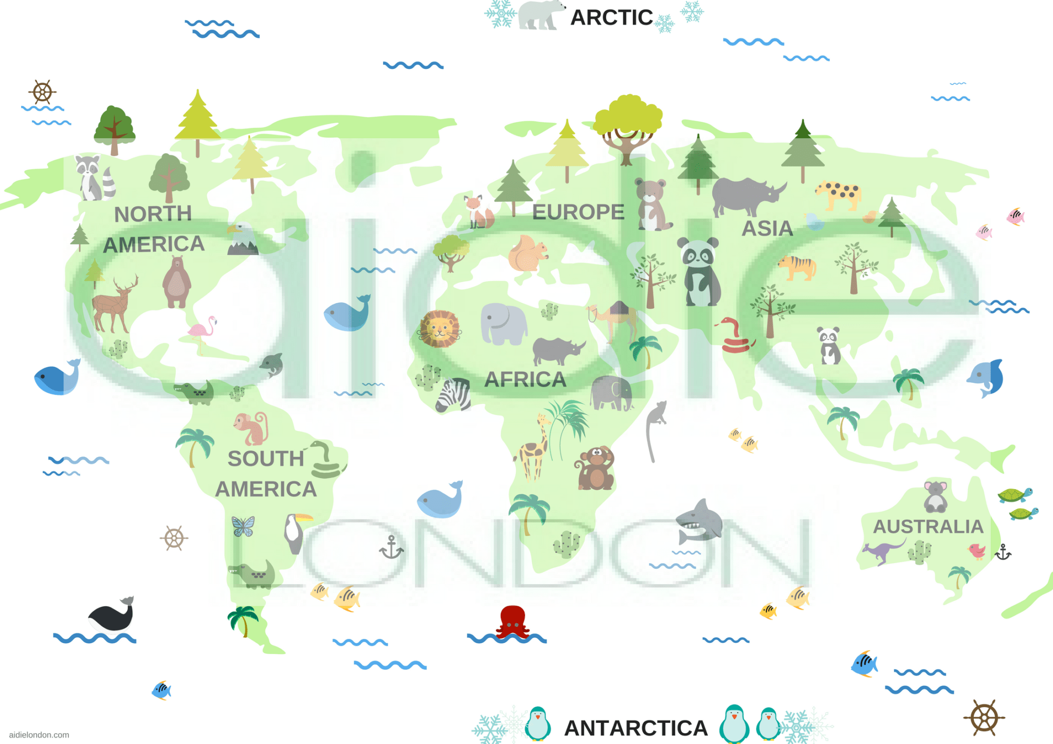 graphic relating to Printable Maps for Kids named Printable Environment Map Poster