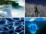 Formações de gelo e água.
