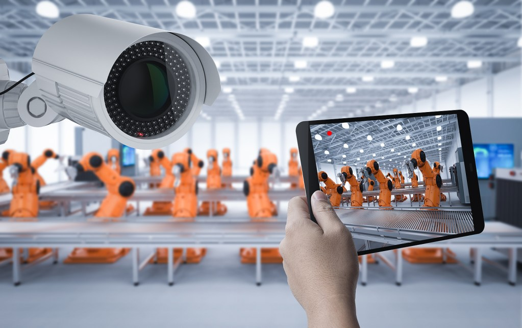 3d Rendering Security Camera Or Surveillance Camera In Factory - AI in manufacturing use cases