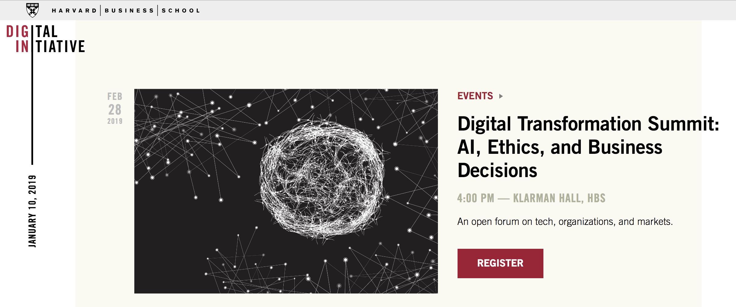 Harvard Business School, Digital Transformation Summit – 28.2.2019