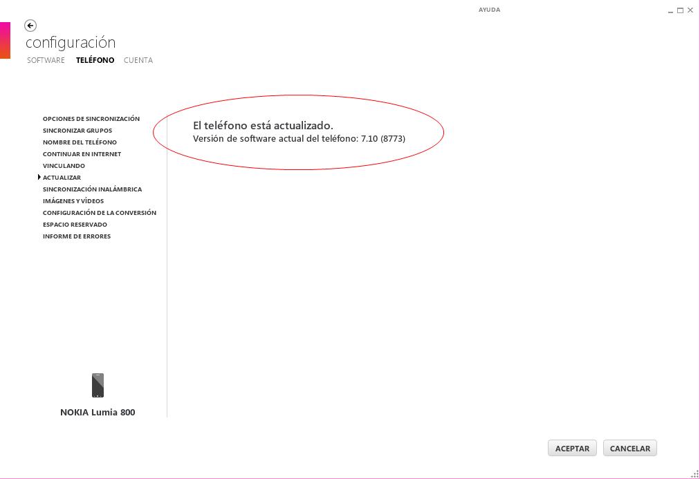 Zune con Nokia Lumia 800, actualizaciones