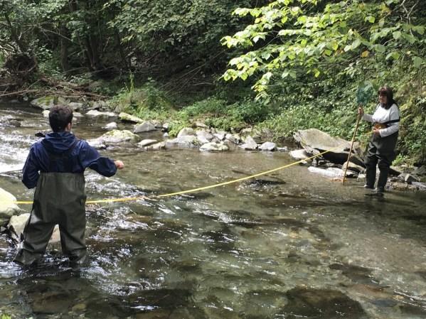 Per dur a terme correctament el mostreig un dels passos és mesurar l'amplada del riu.