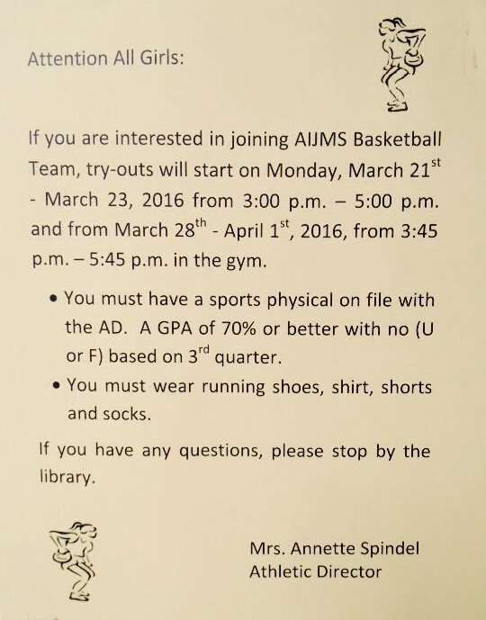 Girls AIJMS Basketball Team Try Outs