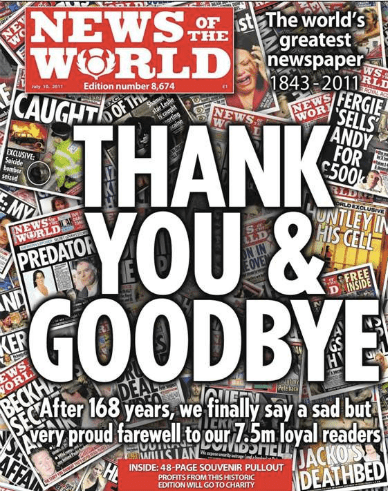 News of the world - Thank you & Goodbye
