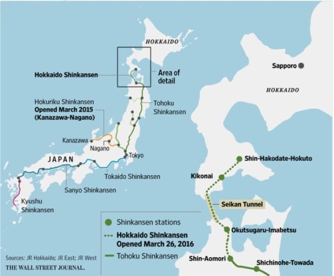 mapa shinkansen hokkaido