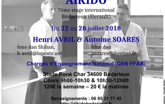 7ème stage international d'Aïkido à Bédarieux du 22 au 28 Juillet 2018