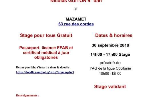 Stage de Ligue Occitanie - 30 septembre 2018 à MAZAMET - 14h00 à 17h00