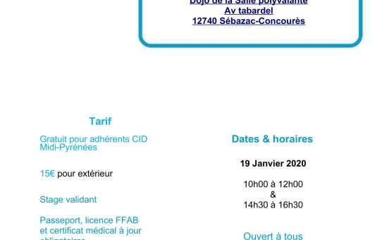 19 Janvier 2020 Stage pour tous à Sébazac animé par Henri Avril Shihan 7ème dan