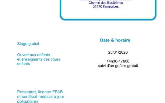 25 janvier 2020 Stage Jeunes  à Fonsorbes animé par Christophe Bocognani 5ème dan et Francis Fabre 3ème dan