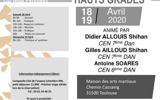 Stage Annulé : Stage Hauts Grades en Midi-Pyrénées pour le 18 et 19 Avril 2020