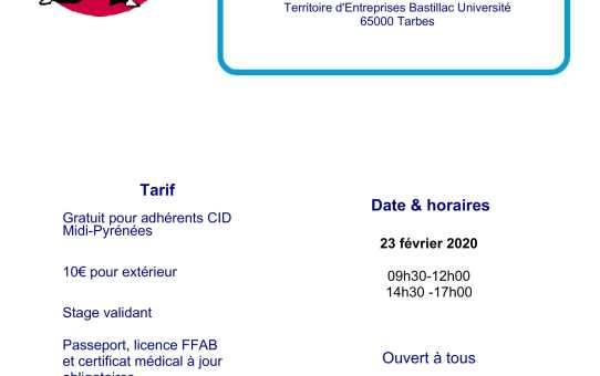 Dimanche 23 février 2020 - Stage pour tous à Tarbes animé par Jean-François Fabre 5ème dan