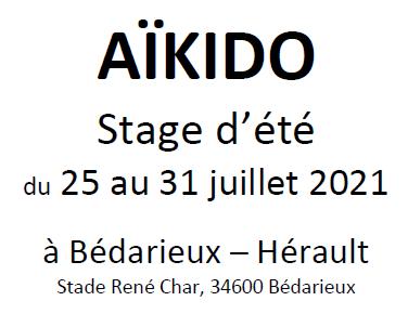 AÏKIDO stage d'été de Bédarieux (34) du 25 au 31 juillet 2021
