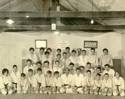 Kenshiro Abbe Sensei and his students in UK in the 1950s