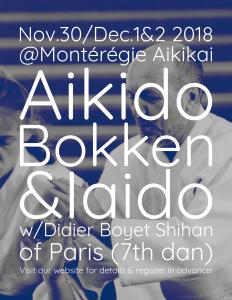 [:fr]Stage - 30 novembre au 2 décembre '18 - Montérégie Aikikai (Longueil, Quebec, CANADA)[:en]Seminar - November 30th to December 2nd '18 - Montérégie Aikikai (Longueil, Quebec, CANADA)[:] @ Montérégie Aikikai