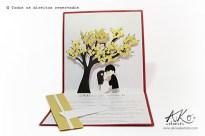 Convite de casamento com detalhe em kirigami