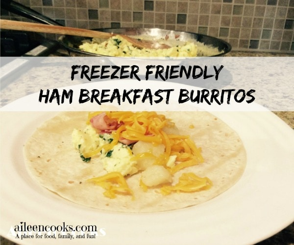 Freezer Friendly Ham Breakfast Burritos. Make 12 Breakfast survings at once and freeze the extras! Found at http://aileencooks.com