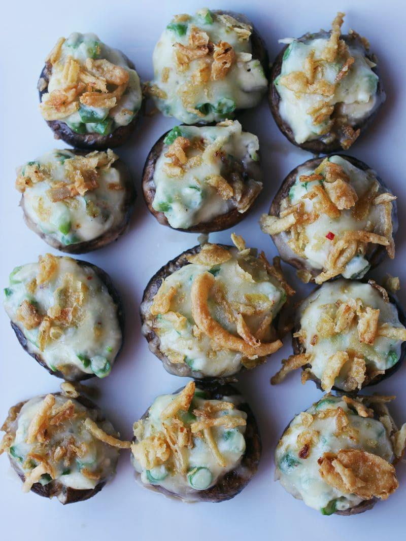 green bean casserole stuffed mushrooms