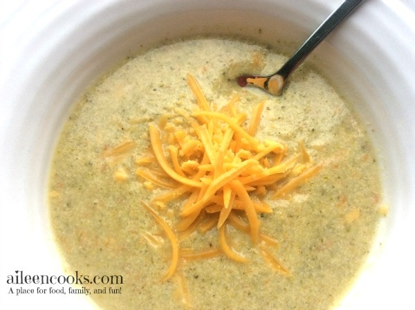 Broccoli Cheddar Soup Day Four of Soup Week on https://aileencooks.com