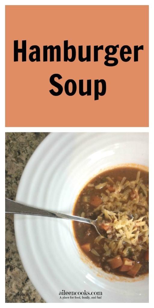 Easy hamburger soup recipe on https://aileencooks.com