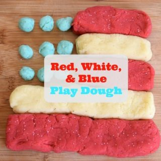 Sparkly and Scented Red, White, and Blue Play Dough. It is so easy to make homemade play dough and is perfect for a patriotic celebration.