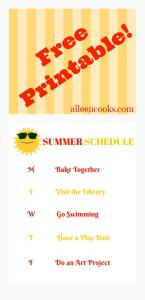 Printable Summer Schedule from aileencooks.com