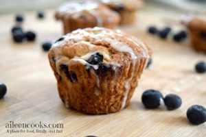 Banana Blueberry Muffins with Vanilla Glaze