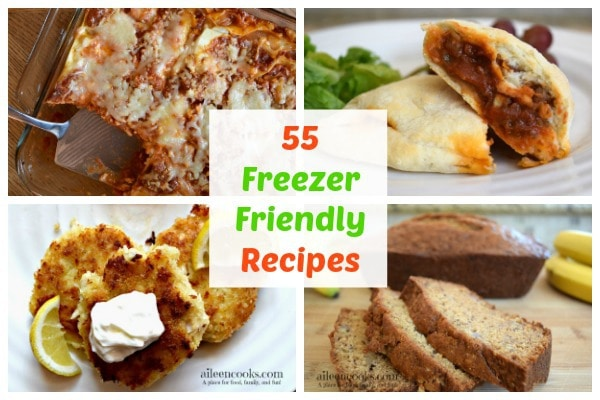 55 Freezer Friendly Recipes inlcuding breakfast, lunch, dinner, snack, and dessert recipes - all ready to be made into freezer meals. http://aileencooks.com