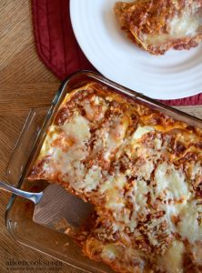 Roasted Garlic Three Cheese Lasagna. This is an easy to make family meal with no boil lasagna noodles. Vegetarian. Freezer Friendly. Kid Friendly. [ad] https://aileencooks.com