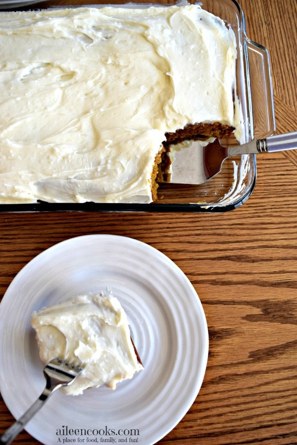 This pumpkin sheet cake with cream cheese frosting is the perfect way to welcome fall and all things pumpkin spice. The pumpkin pie flavor is perfect for a holiday meal like thanksgiving or christmas. It's also easy enough to whip up for a pot luck.