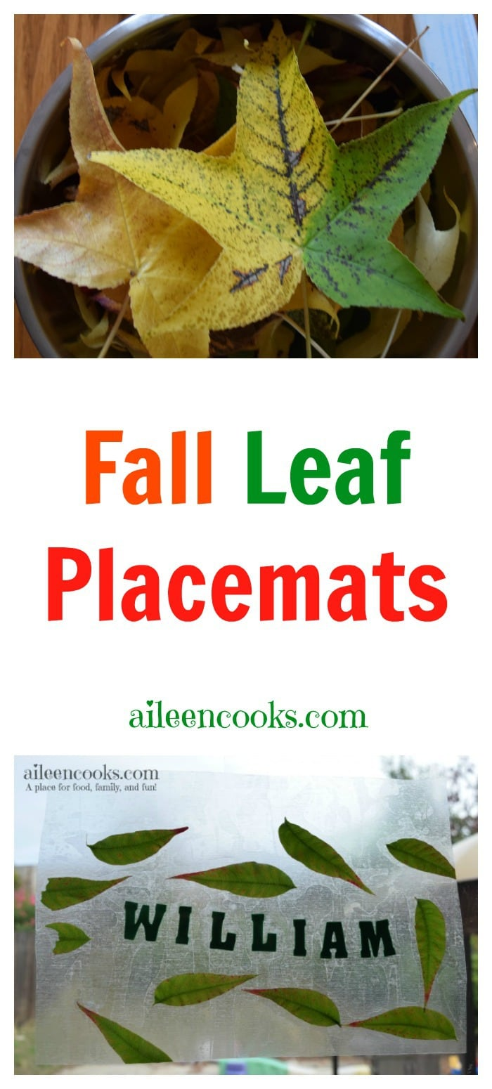 Fall Leaf Placemats are a fun Fall preschooler activity that incorporates nature and name recognition. Post from aileencooks.com. Thanksgiving activity for kids. DIY Thanksgiving decor.