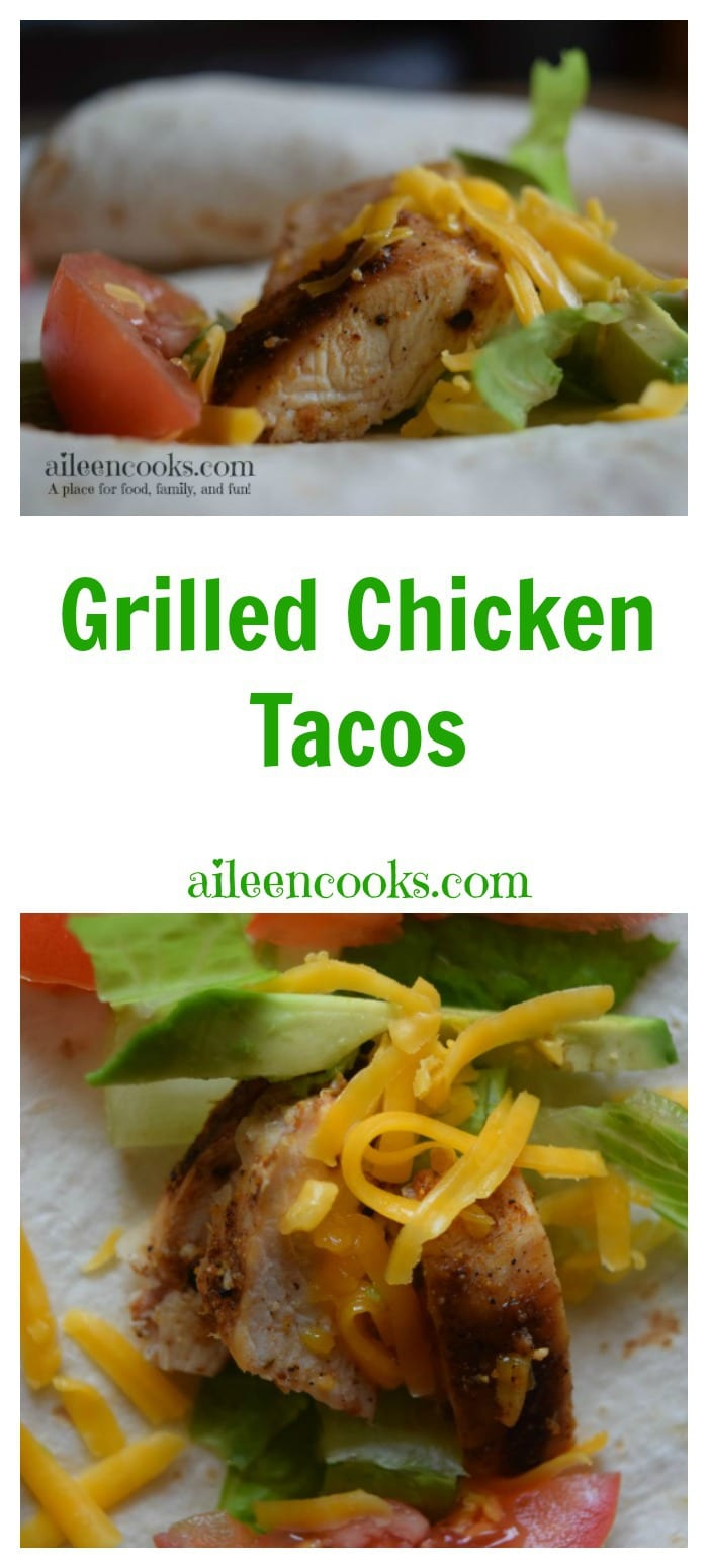 These simple and delicious real food grilled chicken tacos are the perfect recipe for your next taco night. Recipe from aileencooks.com. [ad]